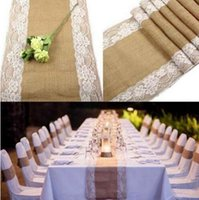 Wholesale Wholesale Vintage Runners - Vintage Burlap Table Runner with Lace for Wedding Linen Tablecloth Wedding Decor Lace Table Runners Home Table Decor for Party