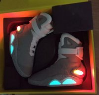 Wholesale Mag Sneakers - 2016 Air Mag Men Limited Edition Back To The Future McFly Mags,Grey Basketball Shoes With LED Lights Sneakers High Quality Sport Shoes