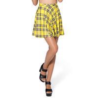gelb gefaltete röcke großhandel-Großhandels- 2017 heiße Frauen Fehlschlag-Kurzschluss-Tennisrock Faltenröcke plus Größen-Eignungs-Gelb-Plaid-Rockweinlese-nette kurze Röcke S L BSQ03