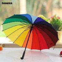 Wholesale Quality Rain Gear - High Quality Rainbow Colorful Umbrella Long Handle Windproof Prevent UV Radiation Push Button Umbrellas Rain Gear Umbrellas-002