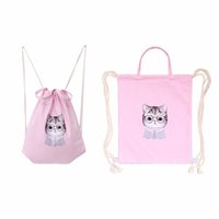 Wholesale Cell Beam - Wholesale- 2016 New Fashion Women Cat Drawstring Beam Port Backpack Shopping Bag Travel s Bags Schoolbag For Teenage Girls