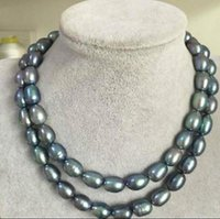 """Wholesale Double Strand Pearl Necklace Bracelet - double strand 11-13mm natural tahitian black blue pearl necklace 35"""""""