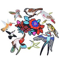 Wholesale Iron Appliques Flowers - 10PCS flower birds series embroidery patches for clothing iron patch for clothes applique sewing accessories stickers on cloth iron on patch
