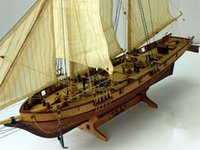 Wholesale Toy Sailboats - Free shipping Scale 1 100 Classics Antique wooden sail boat model kits HALCON1840 Ship Assembly kit Sailboat Educational Toy