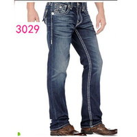Wholesale Good Rocks - fashion Good quality NEW hot Men's Robin Rock Revival true Jeans Crystal Studs Denim Pants Designer Trousers Men's size 30-40