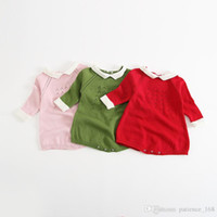 Wholesale Knitted Garment Wholesalers - 2017 INS new arrivals baby kids climbing romper long sleeve Knitted conjoined garment high quality cotton romper girl boy solid color romper