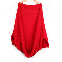 Wholesale Women Oversized Batwing Cardigan Sweaters - Wholesale- High Quality Womens Oversized Loose Knitted Sweater Batwing Sleeve Tops Cardigan Outwear P1