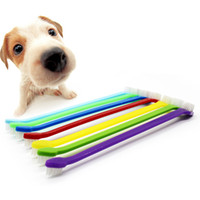 Wholesale Teeth Cleaning Accessories - 17Cm Dog Grooming Plastic Toothbrush Duel End Pets Supplies Mixed Shiny Colors Suitable For Deeper Teeth Cleaning Pets Accessories