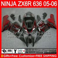 Wholesale Kawasaki Ninja Zx6r Fairings - 8Gifts 23Colors Bodywork For KAWASAKI NINJA ZX-636 ZX-6R 05-06 600CC 27NO20 red flames ZX 636 ZX 6R 2005 2006 ZX636 ZX6R 05 06 Fairing kit