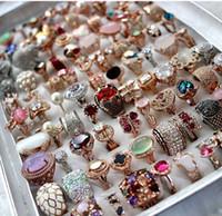 iyi elmas yüzükler toptan satış-DHL toptan kadınlar 18 K gerçek altın kaplama Zirkon yüzükler kadınlar için Avusturya 5A elmas mix stil yüzükler yeni kaliteli ucuz