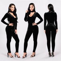 Wholesale Sexy Red Jumpsuits - Velvet Jumpsuit 2017 Autumn Winter Long Sleeve Rompers Womens Jumpsuit V neck Sexy Black Red Bodycon Combinaison Women Fitted Overalls