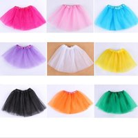 Wholesale Dance Blouses - 14 colors Top Quality candy color kids tutus skirt dance dresses soft tutu dress ballet skirt 3layers children pettiskirt clothes