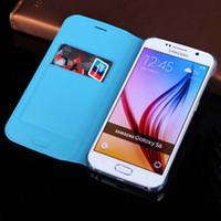 Wholesale Slim Sleeve Holster - For Samsung Galaxy S6 G920   S 6 Edge G925 Slim Wallet Holster Original Leather Case Flip Cover Card Holder Sleeve Bag