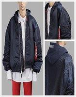 Wholesale Air Force Windbreaker - Wholesale Vetements Women Men sweatshirt cotton-blend bomber jacket Kanye West Hip Hop MA-1 Tactical Air Force Bomber blue Jacket
