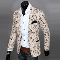 Wholesale Men S Linen Coat - Wholesale- New Mens Floral Casual Long Sleeve Slim Fit Blazer Coat One Button Jacket Stereo clipping cultivate one morality men suit