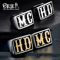 Wholesale gifts for store - Beier new store Stainless Steel ring punk HD MC lover ring Biker ring for men women Fashion Jewelry BR-QC20
