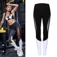 Wholesale Sheer Leggings Pants - Sheer Patchwork Yoga Pants Women Fitness Trousers Leggings Breathable Running Tights Sport Gym Leggins Athletic Workout Sportswear
