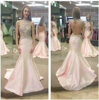 Wholesale Classic Western Dress - New Design Western Style Women Dresses Long Prom 2017 Blush Pink Crystals Beaded Sexy Backless Halter Neck Cutaway Side Evening Party Gowns