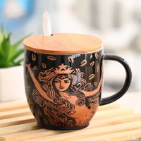 Wholesale Brown Coffee Mugs - Starbucks classic Mermaid coffee cup Mermaid goddess Brown ceramic Mug 40th Anniversary Limited Edition for coffee tea with cover spoon