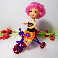 Wholesale Toys Tricycle - 2pcs Kids Tricycle with Push Handle Mini Toy for Barbie Doll Girls Birthday Gifts Doll Accessories Fits for 10cm Kelly Dolls