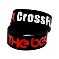 "Wholesale Crossfit Silicone - Wholesale Shipping 50PCS Lot The Box CrossFit Silicone Bracelet 1"" Wide Band Ink Filled Logo Promotion Gift"