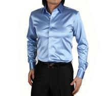 Wholesale mens long sleeve western shirts - 2018 NEW fashion Mens Fashion silk Designer shining loose dress man Shirts Tops Western Casual shirt M - XXXL. Free shipping