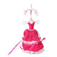 Wholesale Dress Jewelry Stands - Hot Fashion Lace Dress Earrings Necklace Jewelry Rack Earring Holder Princess Model Display Handmade Lady Figure Stand Holder