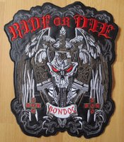 Wholesale Sword Iron - 10.6 inches large Embroidery Patches for Jacket Back Vest Motorcycle Biker Iron on Sword Skull RIDE OR DIE