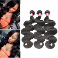 Wholesale Soft Wave Brazilian Hair Weave - Virgin Brazilian Hair Weaves Peruvian Body Wave Human Hair Bundles Malaysian Indian Soft Unprocessed Hair Weft 1B Black Remy Cheap Extension