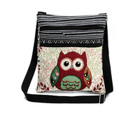 Wholesale Owl Cell Phone Bag - Cute Owl Printed Canvas Crossbody Shoulder Bags Summer Female Casual Canvas Bags Owl Design Messenger Bag