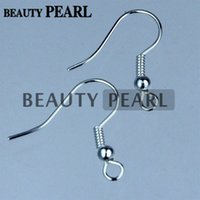 50 Pairs Atacado 925 Sterling Silver Ball Bead Coil French Hook Ear Wires Earrings Findings Components