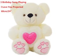 Wholesale Luminous Pillow Teddy - Wholesale- Music Playing Luminous Projecting Love Logo Stuffed Bear Toy Light-Up Plush Teddy Pillow Auto Color Rotation Birthday Gift