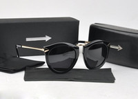 Wholesale Arrow Sun - 2017 New Fashion Brand Karen HARVEST Women Vintage Round Frame Metal Arrow Polarized Sunglasses Men Driving Sun glasses With Original box