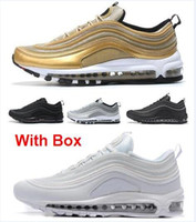 Wholesale Hard Silver - Max 97 OG Tripel White Metallic Gold Silver Bullet Max 97 WHITE 3M Premium Running Shoes with Box Men and Women