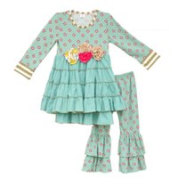 Wholesale Kids Fall Outfits - Wholesale- Mustard Pie Girls Outfits New Arrival Baby Mint Floral Pattern Swing Top Ruffle Cotton Pants Clothes Kids Fall Clothing Set F075