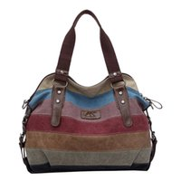 Sac À Main En Toile À Rayures Pas Cher-Wholesale-Famous Brand Women Canvas Sac à main en cuir Shoulder Messenger Bag Stripe Crossbody Bag Patchwork Shopping Tote bolsa mujer Li532