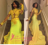 Wholesale Girls Bright Pink Dresses - Black Girl 2017 Bright Yellow Lace Prom Evening Dresses Mermaid Bateau Illusion Long Sleeves Vestidos de Fiesta Formal Evening Gowns Arabic