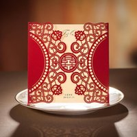 Wholesale Double Happiness Card - Wholesale- Personalized Elegant Asian Chinese Style Double Happiness Laser cut Wedding Invitation card Red color 30SET LOT Free Printing