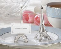 DHL 100 pcs / lot de mariage favorise la tour Eiffel Place Card Holder Wholesale