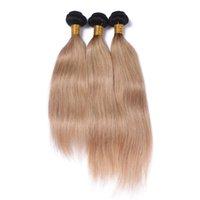 1b 27 koyu kök ombre saç toptan satış-Koyu Kök Bal Sarışın Ombre Perulu Bakire İnsan Saç Uzantıları 3PCS İpeksi Düz İki Ton 1B / 27 Ombre İnsan Saç Paketler Fiyatları