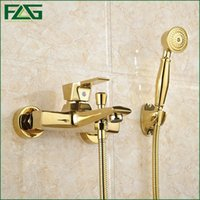 Wholesale Bathtub Faucet Gold - FLG Wall Mounted Antique Brass Brushed Gold Plated Bathtub Faucet With Hand Shower Bathroom Bath Shower Faucets Torneiras HS038