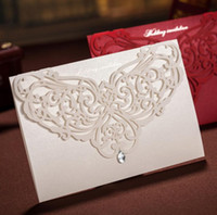 Wholesale White Greeting Cards Envelopes - White Laser Crystal Personalised Wedding Valentine's Day Evening Party Invitations Cards and Envelopes Greeting Card festive supplies