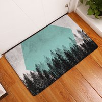 Wholesale nordic fabric - nordic forest doormat mountain woodland decorative kitchen bathroom floor carpet geometric vert rug rectangle shape flannel fabric