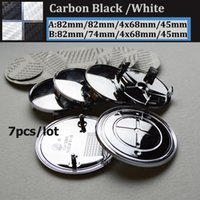 Wholesale Carbon Fiber Rear Wheel - 7pcs lot epoxy carbon fiber black white Badge Front Hood Emblem 82mm+Rear Emblem 82mm+4pcs Wheel Hub Cap 68mm + steering wheel sticker 45mm