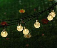 Wholesale Portable Led Fairy Light Balls - NEW 16.4Ft 5M 30 LED Crystal Ball Solar Powered Light Outdoor String Light for Outside Garden Patio Party Christmas Solar Fairy Light MYY