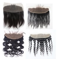 Wholesale chinese body wave hair - Brazilian Lace Frontal Closures Body wave x4 Free Middle Way Part Full Lace Frontal Unprocessed Peruvian Virgin Human Hair Closure