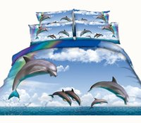 Wholesale Dolphin 3d Duvet Cover - 3 Styles Rainbow Jumping Dolphin 3D Printed Bedding Sets Twin Full Queen King Size Duvet Covers Pillowcases Comforter Animal 600TC 3 4 pcs