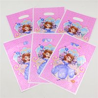 Wholesale Baby Shower Return Gifts - Wholesale-Sofia Princess Kids Girls Baby Shower Happy Birthday Party Decoration Supplies Favors Loot Bag Return Gift Bags 10pcs lot