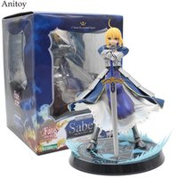 Wholesale fate saber figure - Anime Fate Stay Night Altria Pendragon UBW Saber PVC Action Figures Collectible Model Toys 23cm KT1981