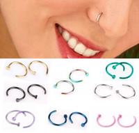 Wholesale Wholesale Pierced Nipple Rings - Simple Design Rainbow Labret Rings Lip Hoop Nose Rings 316L Surgical Steel Nipple Nail Stud Body Piercing Jewelry
